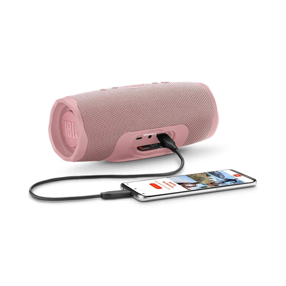 รูป JBL Charge4 Phone DustyPink 1605x1605px ประกอบเนื้อหา ใหม่! ลำโพงบลูทูธแบบพกพา JBL Charge4 อัพเกรดใหม่เร้าใจกว่าเดิม พร้อมวางจำหน่ายแล้วที่ตัวแทนจำหน่ายทั่วประเทศ