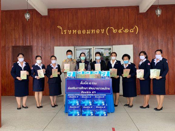 รูป 4.21 ส่งเสริมการศึกษา พัฒนาเยาวชนไทย ประกอบเนื้อหา ดั๊บเบิ้ล เอ สนับสนุนการศึกษาเยาวชนไทย